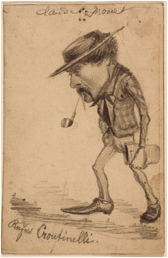 Claude Monet <i>Caricature of Henri Cassinelli</i>(1858) graphite on card 130 x 85 mm The Art Institute of Chicago.