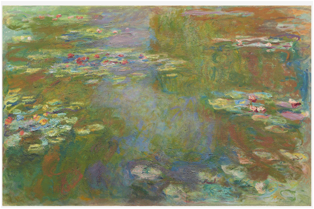 Claude Monet <i>Water Lily Pond </i>(1917/19) oil on canvas 130,2 x 201,9 cm The Art Institute of Chicago.