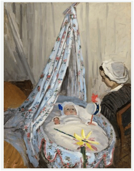 Claude Monet <i>The Cradle�Camille with the Artist's son Jean </i>(1867) oil on canvas 116,2 x 88,8 cm National Gallery of Art, Washington, DC.