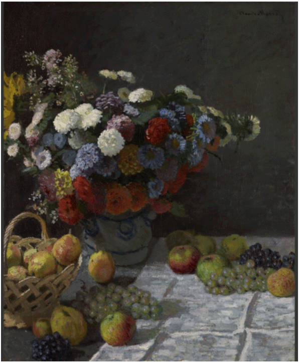 Claude Monet <i>Still Life with Flowers and Fruit </i>(1869) oil on canvas 100,3 x 81,3 cm The Getty.