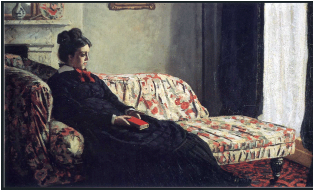 Claude Monet <i>Meditation, Madame Monet Sitting on a Sofa</i> (1871) oil on canvas 48 x 74 cm Mus�e d'Orsay.