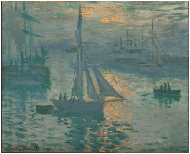 Claude Monet <i>Sunrise, Marine </i>(1872) oil on canvas 50,2 x 61 cm The Getty.