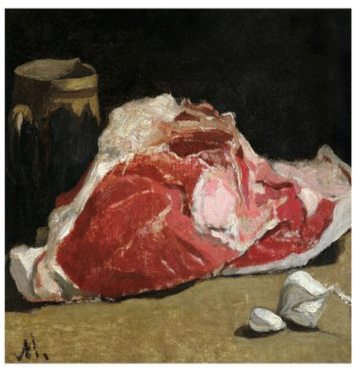 Claude Monet <i>Still Life with Meat </i>(1864) oil on canvas 24 x 33 cm Mus�e d'Orsay.