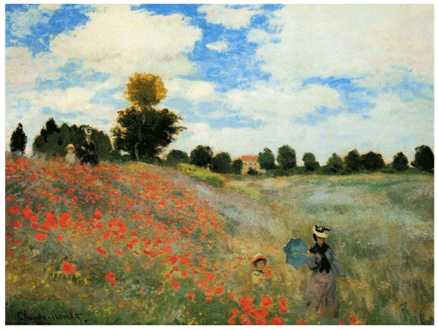 Claude Monet <i>Poppies at Argenteuil </i>(1873) oil on canvas 50 x 65 Mus�e d'Orsay.