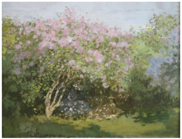 Claude Monet <i>Lilacs in the Sun </i>(1873) oil on canvas  50 x 65 cm Pushkin State Museum.