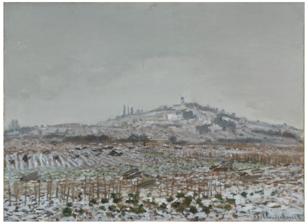 Claude Monet <i>Vineyards in the Snow, Looking towards the Mill at Orgemont </i>(1873) oil on canvas 85 x 106,68 cm Virginia Museum of Fine Arts.