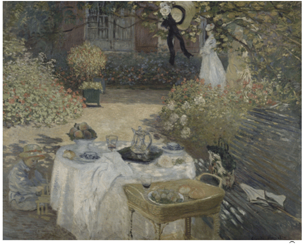 Claude Monet <i>The Lunch:  Decorative Panel </i>(1874) oil on canvas 160 x 201 cm Mus�e d'Orsay.