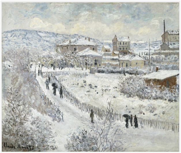 Claude Monet<i> Snow Effect, Argenteuil </i>(1875) oil on canvas 54,5 x 65 cm The Nelson�Atkins Museum of Art.