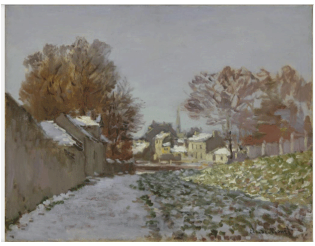 Claude Monet <i>Snow Effect at Argenteuil (Village Street) </i>(1875) oil on canvas 50,2 x 68 cm The Nelson�Atkins Museum of Art.