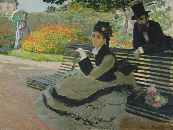 Camille Monet on a Garden Bench