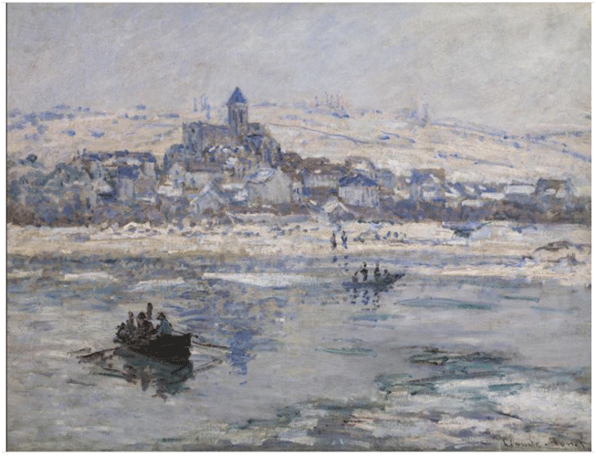 Claude Monet <i>V�theuil in Winter </i>(1878) oil on canvas 68,6 x 89,9 cm The Frick Collection.
