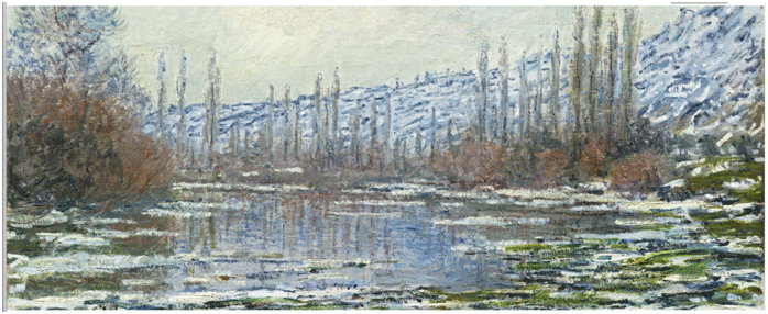 Claude Monet <i>The Thaw at Vetheuil </i>(1880) oil on canvas 60 x 100 cm Museo Nacional Thyssen�Bornemisza, Madrid.