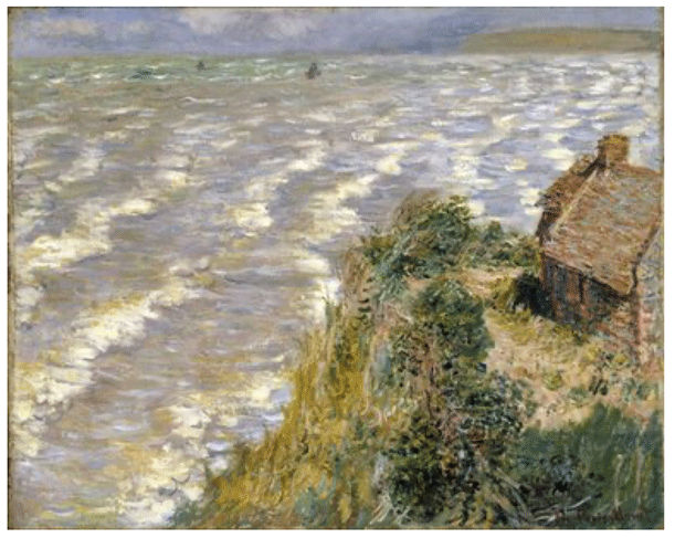 Claude Monet <i>Rising Tide at Pourville </i>(1882) oil on canvas 88,9 x 104,8 cm Brooklyn Museum.