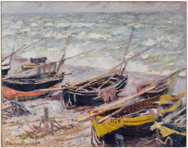 Claude Monet <i>Fishing Boats at �tretat </i>(1885) oil on canvas 73,7 x 91,4 cm Seattle Museum of Art.