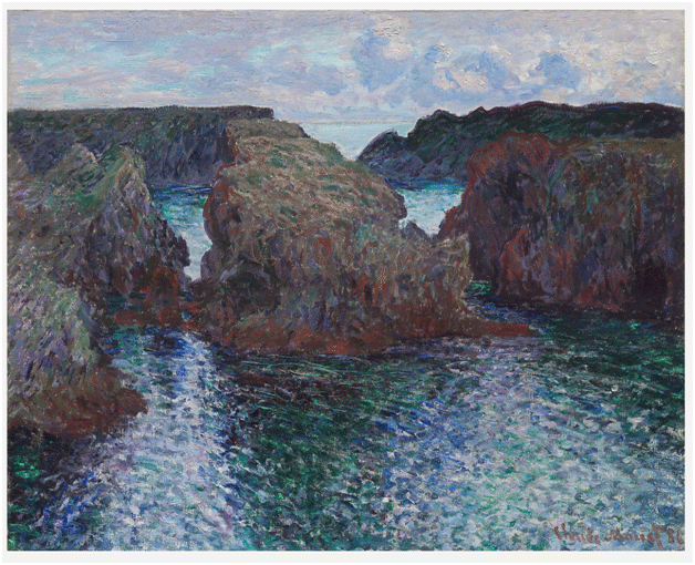 Claude Monet <i>Rocks at Port�Gouphar </i>(1886) oil on canvas 66 x 81,8 cm The Art Institute of Chicago.