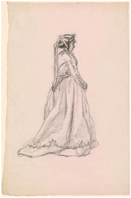 Claude Monet <i>Figure of a Woman (Camille) </i>(1865) black chalk on laid paper 47,2 x 31,5 cm The Morgan Library & Museum.