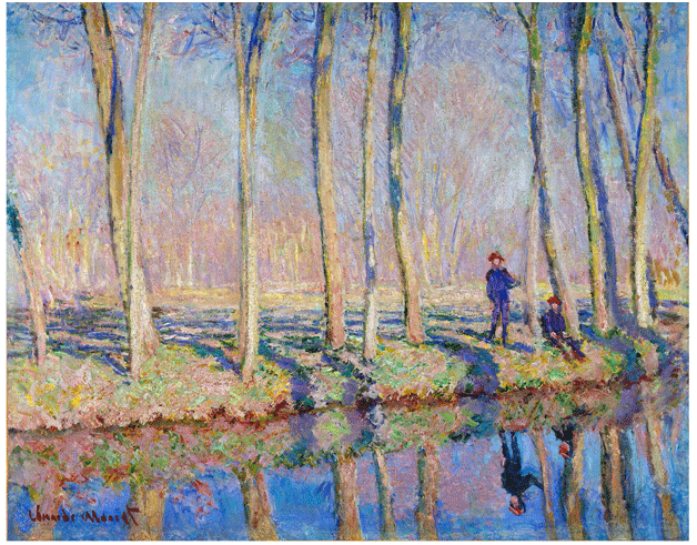 Claude Monet <i>Jean�Pierre Hosched� and Michel Monet on the Banks of the Epte </i>(1888) oil on canvas 76 x 96,5 cm National Gallery of Canada.