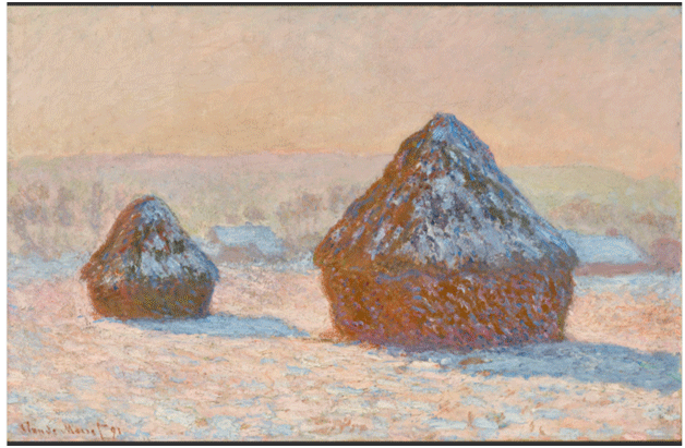Claude Monet<i> Wheat stacks, Snow Effect, Morning </i>(1891) oil on canvas 64,8 x 100.3 cm The Getty.