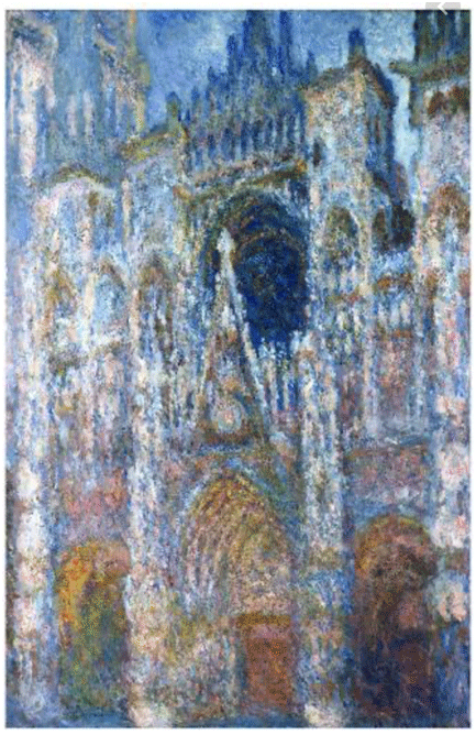 Claude Monet <i>Rouen Cathedral, Morning Sun, Harmony in Blue </i>(1894) oil on canvas 91 x 63 cm Mus�e d'Orsay.