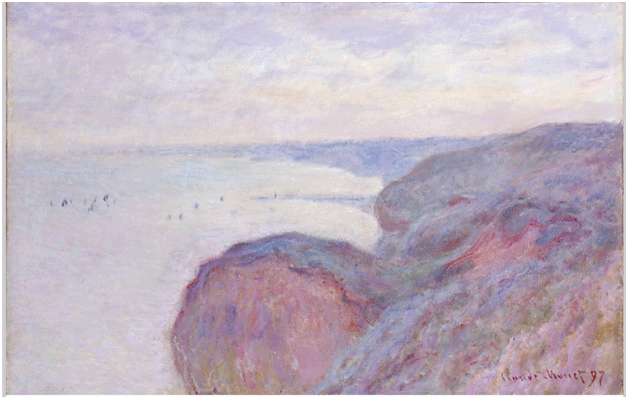 Claude Monet <i>Steep Cliffs Near Diepe </i>(1897) oil on canvas 65 x 100,5 cm The State Hermitage Museum.