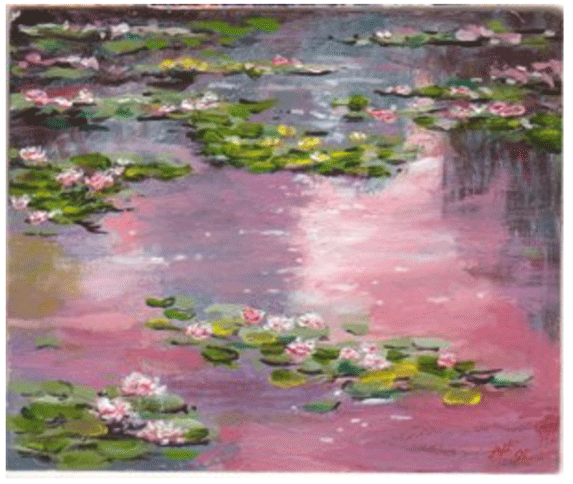 Claude Monet <i>Pink Water:  Lilies </i>(1898) oil on canvas 81.5 x 100 cm Galleria Nazionale d'Art Moderne, Rome.