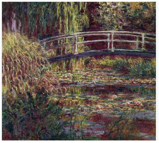 Claude Monet <i>Japanese Bridge, The Waterlily Pond, Symphony in Pink </i>(1900) oil on canvas 89,5 x 100 cm Mus�e d'Orsay.