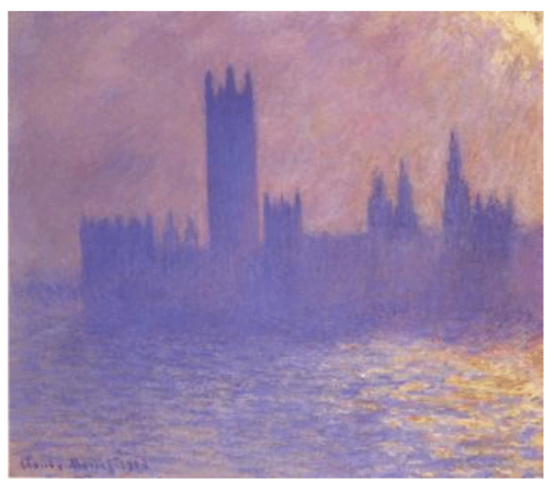 Claude Monet <i>Houses of Parliament, Effect of Sunlight </i>(1903) Oil on canvas 64,5 x 99,8 cm Brooklyn Museum.
