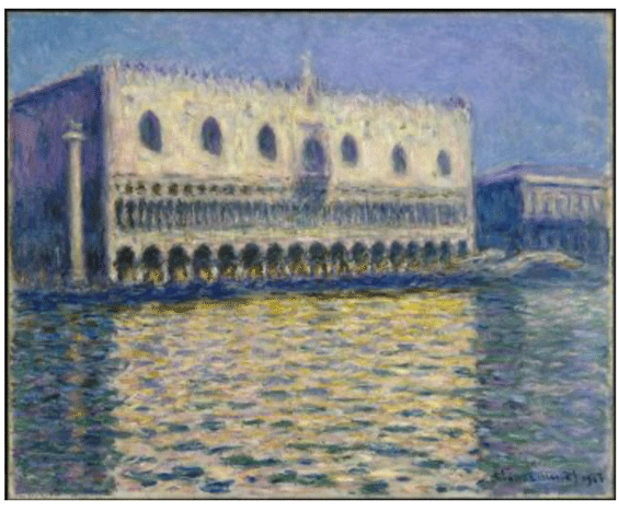 Claude Monet <i>The Doge's Palace </i>(1908) oil on canvas 81,3 x 99,1 cm Brooklyn Museum