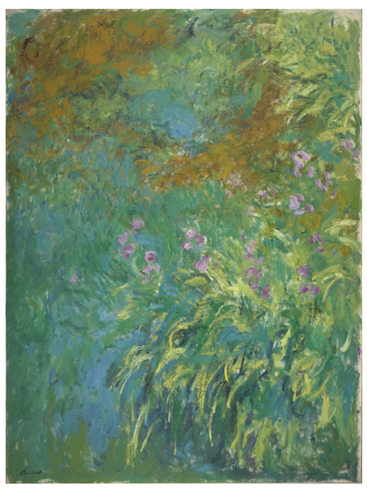 Claude Monet <i>Irises by the Pond </i>(1914) oil on canvas 199,4 x 150,5 cm Virginia Museum of Fine Arts.